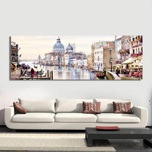 Abstract Landscape Posters and Prints Wall Art Canvas Painting Lovers and City View Oil Painting Pictures for Living Room Decor - SallyHomey Life's Beautiful