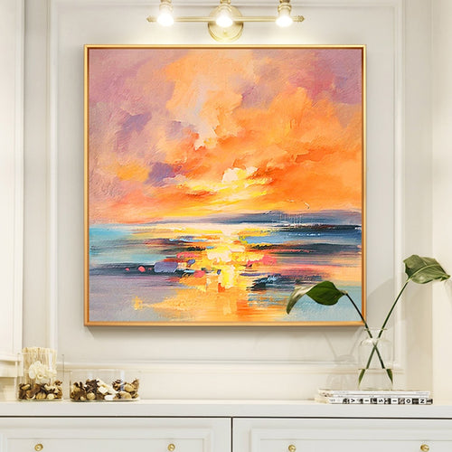 100% Hand Painted Abstract Setting Sun Oil Painting On Canvas Wall Art Frameless Picture Decoration For Live Room Home Deco Gift - SallyHomey Life's Beautiful