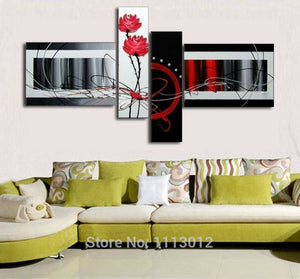 High Quality Home Decoration On Canvas Flower Oil Painting Large Red White Modern Abstract Home Wall Art Picture For Living Room - SallyHomey Life's Beautiful