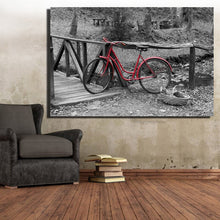 Load image into Gallery viewer, Urban or Rural Landscape Painting Digital Printed Painting Canvas Art A Red Bike In The Street Canvas Painting Home Decor Gift - SallyHomey Life's Beautiful