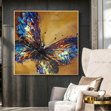 Load image into Gallery viewer, 100% Handpainted Animal Wall Pictures Abstract Colorful Butterfly Art Oil Painting On Canvas Best Gift Home Decor Hang Wall Art