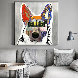 Modern Abstract Art Posters and Prints Wall Art Canvas Painting Colorful Pet Dogs Decorative Pictures For Living Room Home Decor - SallyHomey Life's Beautiful