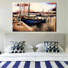 Load image into Gallery viewer, Landscape Posters and Prints Wall Art Canvas Painting Classic Abstract Boat in The Bay Pictures for Living Room Wall Home Decor - SallyHomey Life's Beautiful