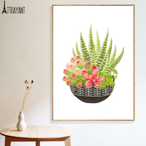 Tropical Succulents Cactus Aloe Flower Wall Art Canvas Painting Nordic Posters And Prints Wall Pictures For Living Room Decor - SallyHomey Life's Beautiful