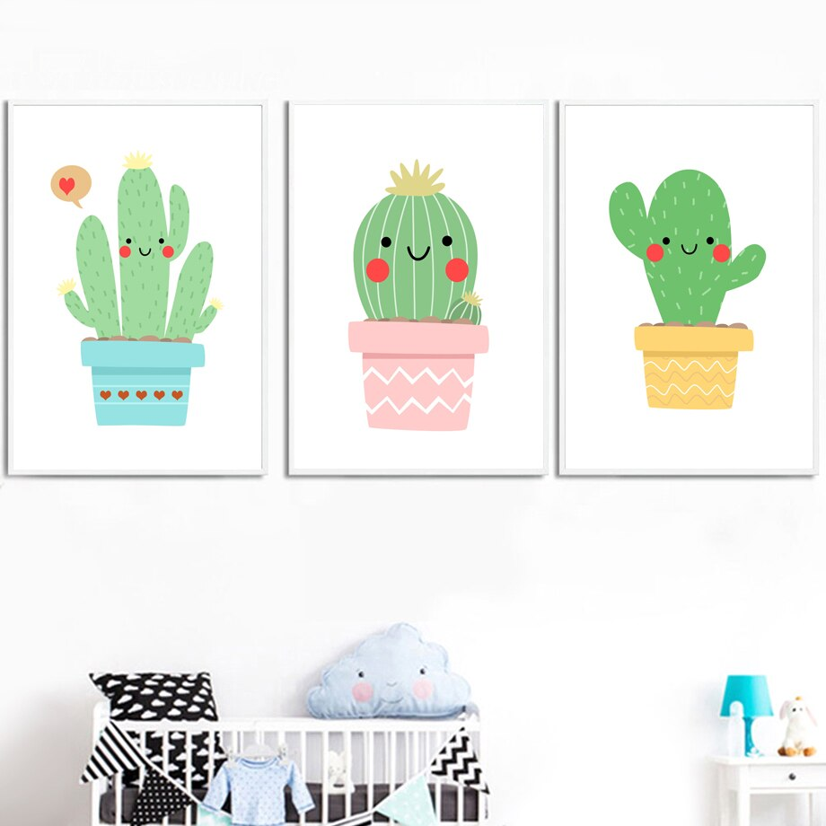 Cartoon Abstract Cute Succulent Cactus Wall Art Canvas Painting Nordic Posters And Prints Wall Pictures Baby Kids Room Decor - SallyHomey Life's Beautiful