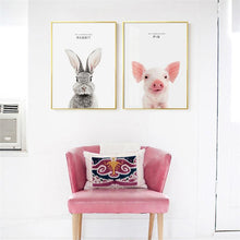 Load image into Gallery viewer, Modern Nordic Minimalist Wall Art Poster Cute Animals Pop Art Paintings Prints On Canvas for Kids Bedroom Children's Day Gifts - SallyHomey Life's Beautiful