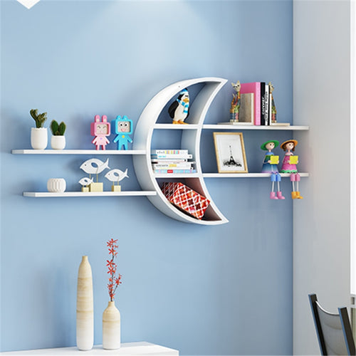 [HHT] Creative Moon Wall-mounted Rack Wooden Board Storage Shelf Living Room Children's Room Decorations Shelves Bookshelf