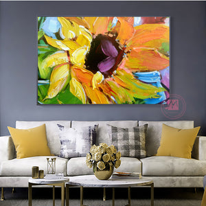 Abstract painting oil sunflower painting canvas decorative art decor flower pictures for living room wall cuadros para sala - SallyHomey Life's Beautiful