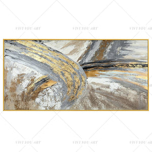 100% Hand Painted White Golden Gray Abstract Painting  Modern Art Picture For Living Room Modern Cuadros Canvas Art High Quality