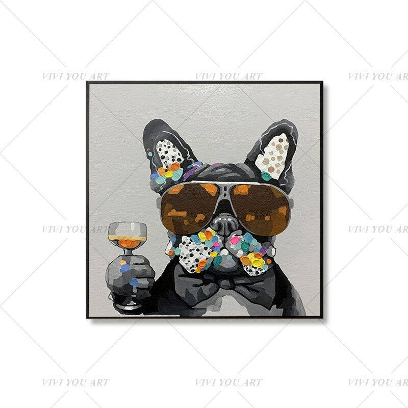 100% Hand Painted  Cute Dog Abstract Modern Art Picture For Living Room Modern Cuadros Canvas Art High Quality