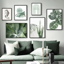 Load image into Gallery viewer, Fresh Green Leaf Abstract Girl Curve Door Nordic Posters And Prints Wall Art Canvas Painting Wall Pictures For Living Room Decor - SallyHomey Life's Beautiful