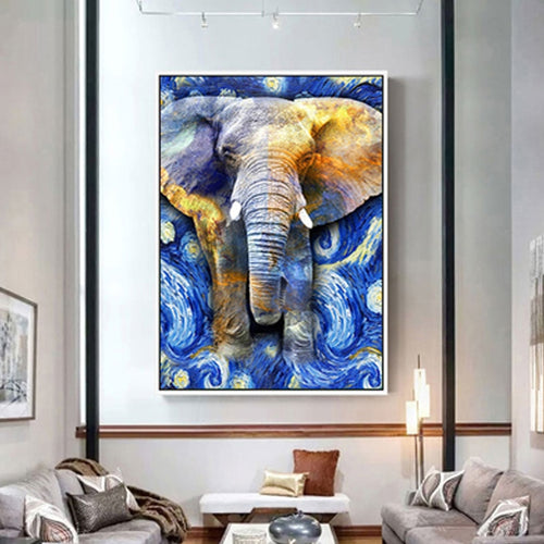100% Hand Painted Abstract Stars Elephant Painting On Canvas Wall Art Frameless Picture Decoration For Live Room Home Decor Gift