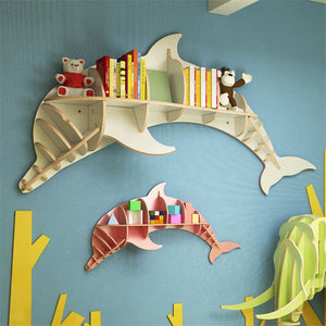 [HHT] Nordic Creative Solid Wood Wall-mounted Rack Dolphin Shape Storage Shelf Background Wall Decoration Shelves Bookshelf