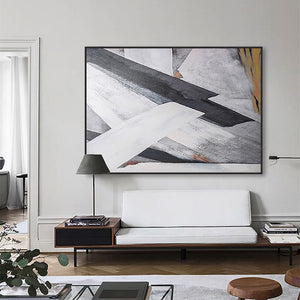 Abstract oil painting tableau black and white canvas painting custom on the wall handpainted bedroom cuadros decoracion salon - SallyHomey Life's Beautiful