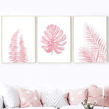 Load image into Gallery viewer, Pink Monstera Feather Leaf Tropical Plant Wall Art Canvas Painting Nordic Posters And Prints Wall Pictures For Living Room Decor - SallyHomey Life's Beautiful