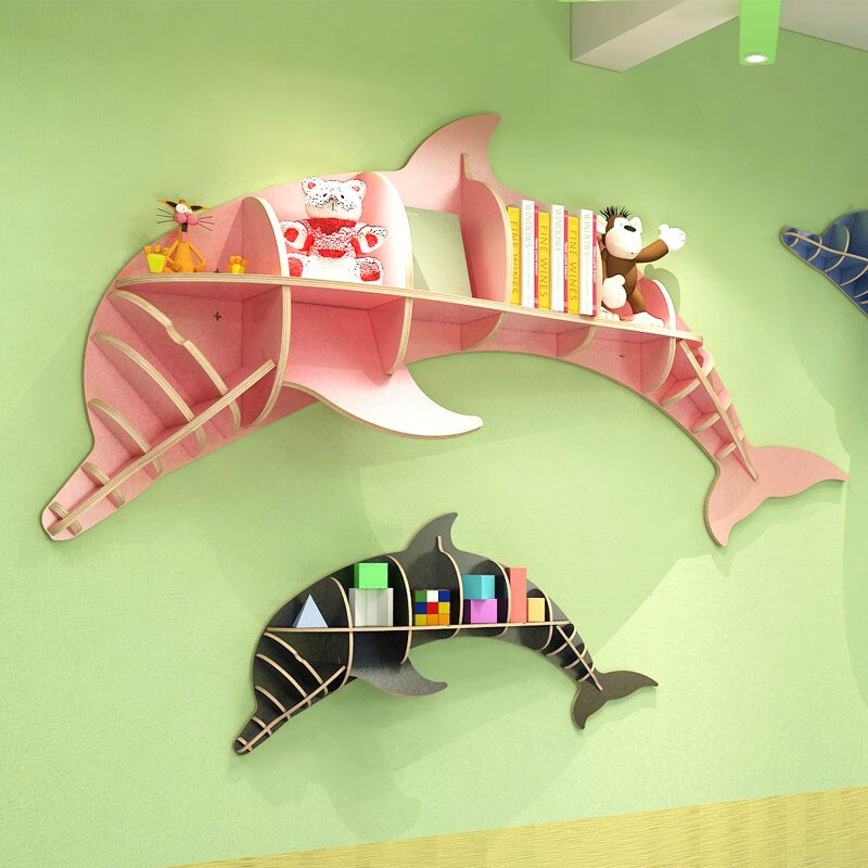 Nordic Creative Solid Wood Wall-mounted Rack Dolphin Shape Storage Shelf Background Wall Decoration Shelves Bookshelf