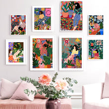 Load image into Gallery viewer, Abstract Fashion Vintage Girl Plant Dog Wall Art Canvas Painting Nordic Posters And Prints Wall Pictures For Living Room Decor - SallyHomey Life's Beautiful