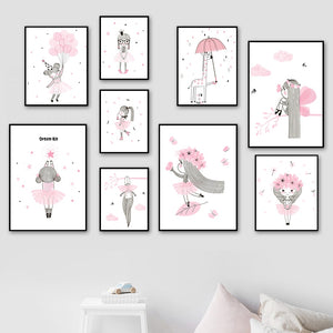 Pink Girl Crown Balloon Star Flower Nursery Wall Art Canvas Painting Nordic Posters And Prints Wall Pictures Kids Room Decor - SallyHomey Life's Beautiful