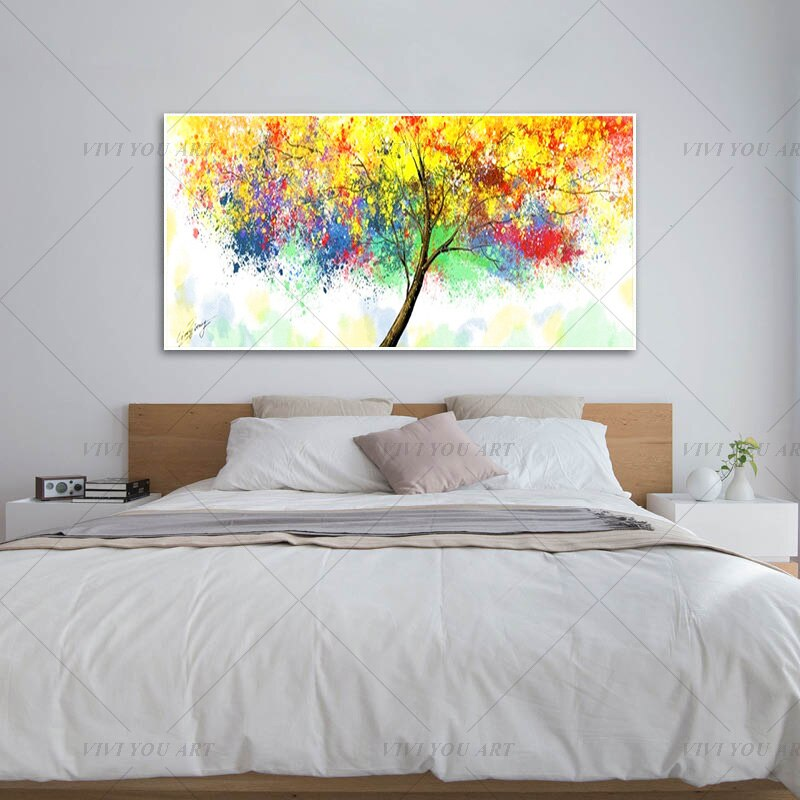 100% Hand Painted Colorful Tree Abstract Painting  Modern Art Picture For Living Room Modern Cuadros Canvas Art High Quality