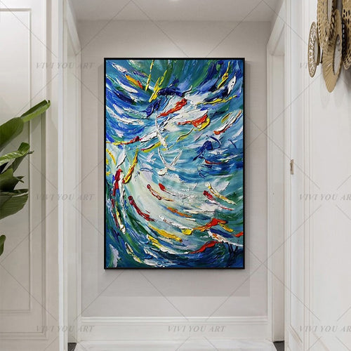 100% Hand Painted Modern Blue Fishes Lucky Canvas Painting Picture 100% Handmade Painting for Living Room Wall Art Decoration Bedroom Home Decor