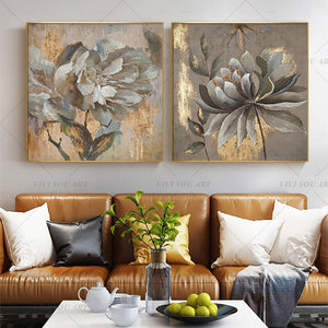 100% Hand Painted Silver Flower Gentle Abstract Painting  Modern Art Picture For Living Room Modern Cuadros Canvas Art High Quality