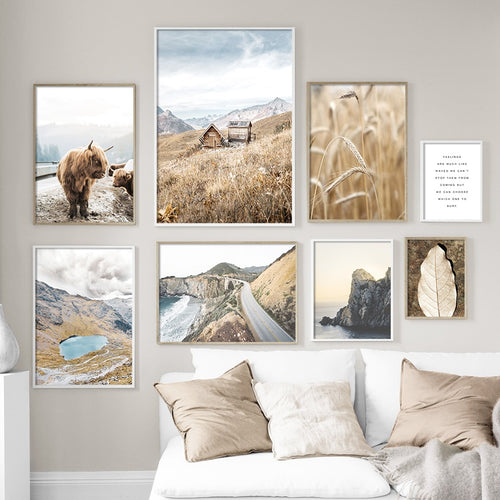 Mountain Leaf Highway Rice Yak Wall Art Canvas Painting Nordic Posters And Prints Landscape Wall Pictures For Living Room Decor - SallyHomey Life's Beautiful