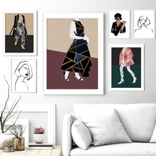 Load image into Gallery viewer, Modern Fashion Girl Abstract Girls FaceWall Art Canvas Painting Nordic Posters And Prints Wall Pictures For Living Room Decor - SallyHomey Life's Beautiful