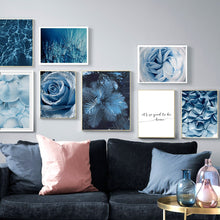 Load image into Gallery viewer, Blue Dandelion Rose Leaf Sea Quote Wall Art Canvas Painting Nordic Posters And Prints Plant Wall Pictures For Living Room Decor - SallyHomey Life's Beautiful