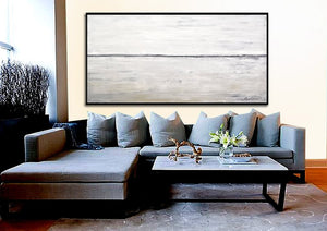 Artist Hand-painted High Quality Modern White and ash Abstract Oil Painting on Canvas Handmade Large Abstract OilPainting - SallyHomey Life's Beautiful