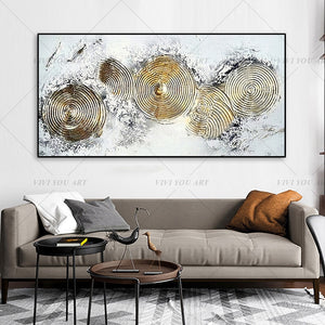 100% Hand Painted Gold Circle Abstract Painting  Modern Art Picture For Living Room Modern Cuadros Canvas Art High Quality