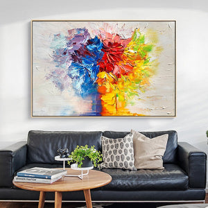 100% Hand Painted Abstract Abstract Flower Oil Painting On Canvas Wall Art Frameless Picture Decoration For Live Room Home Decor