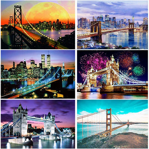 DIY 5D Diamond Painting Bridge&Firework Diamond Embroidery Landscape Cross Stitch Full Round Drill Rhinestone Mosaic Wall Art