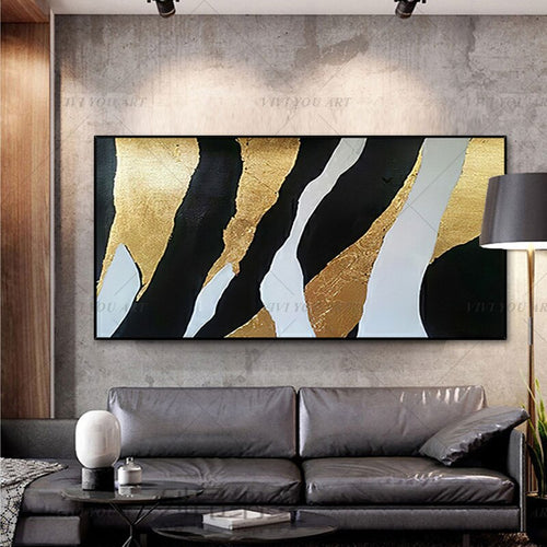100% Hand Painted Black Gray Shining Block Painting  Modern Art Picture For Living Room Modern Cuadros Canvas Art High Quality