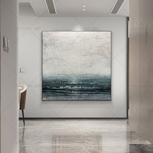 100% Handmade Blue Sea Gray Abstract Painting  Modern Art Picture For Living Room Modern Cuadros Canvas Art High Quality