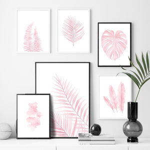 Pink Monstera Feather Leaf Tropical Plant Wall Art Canvas Painting Nordic Posters And Prints Wall Pictures For Living Room Decor - SallyHomey Life's Beautiful