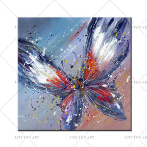 100% Handpainted Animal Wall Pictures Abstract Colorful Butterfly Art Oil Painting On Canvas Best Gift Home Decor Hang Wall Art