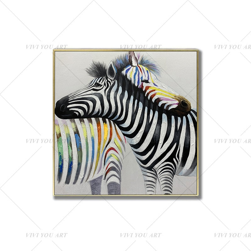 100% Hand Painted Color Zebra Couple Abstract Modern Art Picture For Living Room Modern Cuadros Canvas Art High Quality