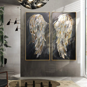 100% Hand Painted Abstract Wings Art Oil Painting On Canvas Wall Art Frameless Picture Decoration For Live Room Home Decor Gift