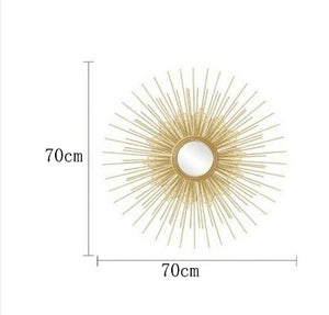 Europe Wrought Iron Wall Hanging Gold Sun Flower Decorative Mirrors Decor Home Livingroom Background Wall Mural Ornaments Crafts - SallyHomey Life's Beautiful