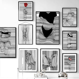 Kiss -Wall Art Canvas Painting Nordic Posters And Prints Wall Pictures For Living Room Decor - SallyHomey Life's Beautiful