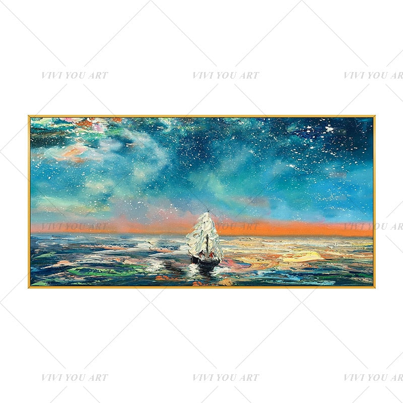 100% Hand Painted White Ship Blue Sea Abstract Painting  Modern Art Picture For Living Room Modern Cuadros Canvas Art High Quality