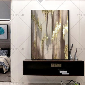 Bright luxury gold foil decorative oil painting handpainted abstract oil painting modern living room Bedroom Home Decor