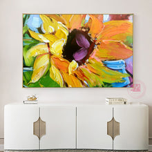 Load image into Gallery viewer, Abstract painting oil sunflower painting canvas decorative art decor flower pictures for living room wall cuadros para sala - SallyHomey Life's Beautiful