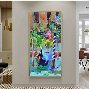 Abstract modern canvas wall art hand painted painting Venice landscape beautiful vertical oil painting on canvas for living room - SallyHomey Life's Beautiful