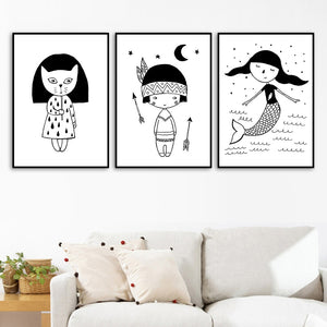 Girl Mermaid Black White Scandinavian Nursery Wall Art Canvas Painting Nordic Posters And Prints Wall Pictures Kids Room Decor - SallyHomey Life's Beautiful
