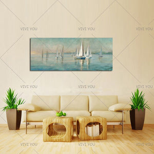100% Hand Painted   Sailboat on Canvas -Acrylic Abstract Landscape Paintings