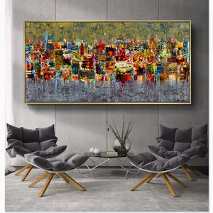 Abstract Art Canvas Poster and Print Landscape - SallyHomey Life's Beautiful