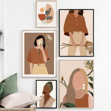 Load image into Gallery viewer, Abstract Fashion Vintage Girl Plant Wall Art Canvas Painting Nordic Posters And Prints Wall Pictures For Living Room Decor - SallyHomey Life's Beautiful