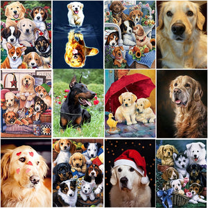 DIY 5D Diamond Painting Golden Retriever Dog Full Round Drill Cross Stitch Diamond Embroidery Animal Mosaic Rhinestones Decor