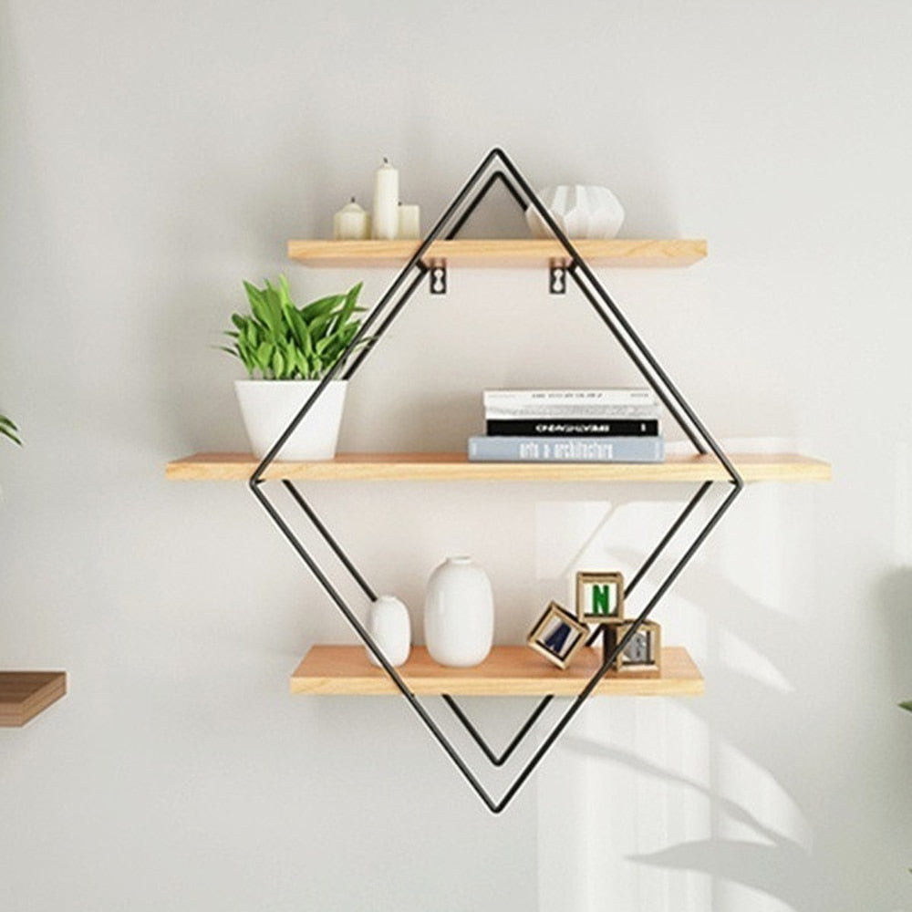 Vintage Iron Metal Wood Wall Shelf Kitchen Storage Rack Rhombus Craft Wall Book Hanging Rack Bathroom Organizer Home Decoration